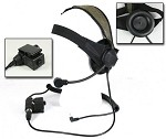 Bravo Airsoft Headset Style 02 with PTT for Motorola Talkabout (single pin) - Black