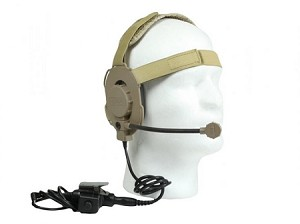Bravo Airsoft Headset Style 01 (Bowman Evo III) with PTT for Motorola Talkabout (single pin)-TAN