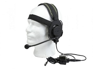 Bravo Airsoft Headset #1 (Bowman Evo III) with PTT for 1 Pin Motorola (Black)