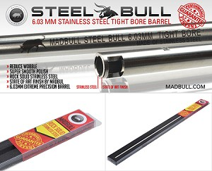 Madbull Airsoft 300 mm Steel Bull Stainless Steel 6.03 Tightbore Barrel